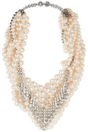 Tom Binns Grand Dame rhodium-plated, Swarovski pearl and crystal necklace