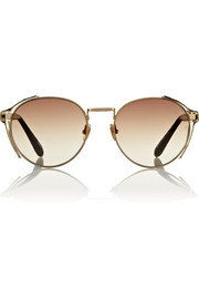 Linda Farrow Round-frame metal and elaphe sunglasses