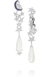 Moon and Star 18-karat white gold, moonstone, diamond and sapphire earrings