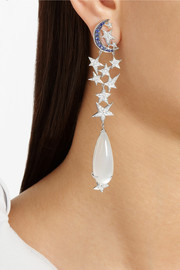 Lydia Courteille Moon and Star 18-karat white gold, moonstone, diamond and sapphire earrings
