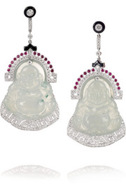 Buddha 18-karat white gold multistone earrings
