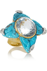Lydia Courteille Star 18-karat gold, turquoise, aquamarine and diamond ring
