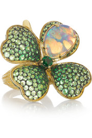 Four Leaf Clover 18-karat gold, opal and tsavorite ring