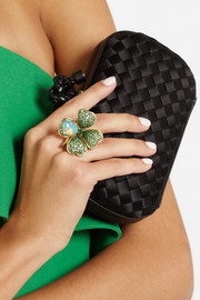 Lydia Courteille Four Leaf Clover 18-karat gold, opal and tsavorite ring