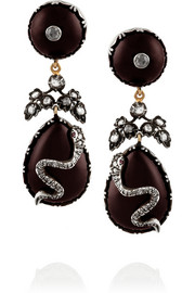 Fred Leighton 1840s silver-topped gold, garnet and diamond clip earrings