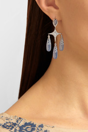 Fred Leighton 18-karat white gold, chalcedony and diamond chandelier earrings