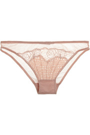 Stella McCartney Ellie Leaping stretch silk-blend crepe and lace briefs