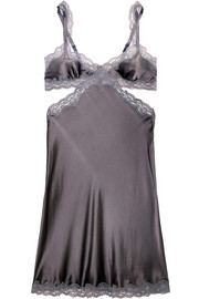 Stella McCartney Clara Whispering lace-trimmed stretch-silk satin chemise