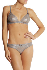 Stella McCartney Victoria Raving metallic stretch-lace underwired bra