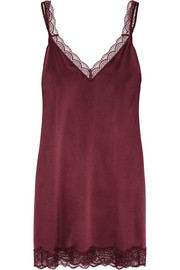 Stella McCartney Minnie Sipping lace-trimmed stretch-silk chemise