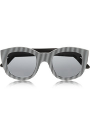 Le Specs Runaways striped square-frame acetate sunglasses