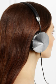 Frends Taylor leather and silver-tone headphones