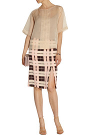 By Malene Birger Costanza checked silk-crepe pencil skirt