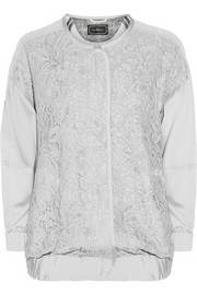 By Malene Birger Asia lace-paneled silk-blend bomber jacket