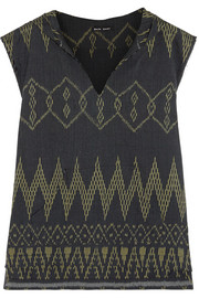 Baja East Hooded Ikat cotton-jacquard coverup