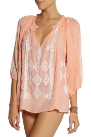 Melissa Odabash Alaia embroidered voile top