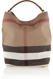 Checked canvas hobo bag