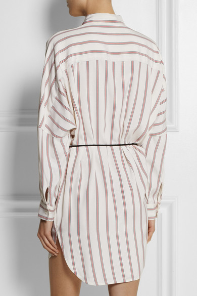 Robe chemise tissée à rayures Folio