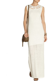 Maje Fire macramé-trimmed linen maxi dress