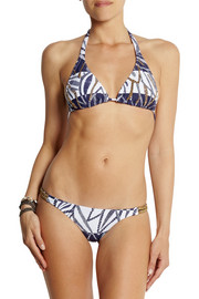 Vix Una printed embellished triangle bikini top