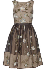 Needle & Thread Foliage embellished silk-chiffon dress