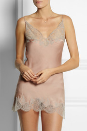 Carine Gilson Lace-trimmed silk-satin mousseline camisole