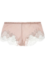 Carine Gilson Lace-trimmed stretch-silk mousseline shorts
