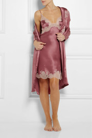 Carine Gilson Lace-appliquéd silk-satin mousseliné robe