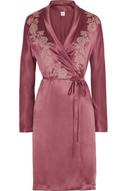 Lace-appliquéd silk-satin mousseliné robe