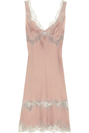 Lace-trimmed silk-satin mousseliné chemise