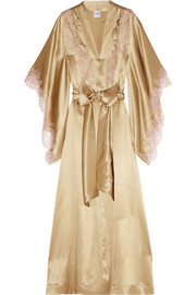 Lace-trimmed silk-satin mousseliné robe