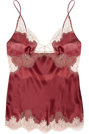Lace-trimmed silk-satin mousseliné camisole