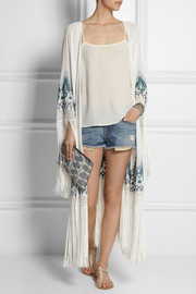 Talitha Myra fringed embroidered silk-georgette kimono jacket