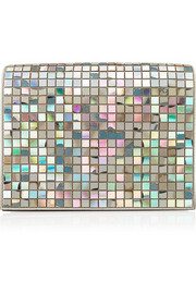 Maison Martin Margiela Embellished iridescent patent-leather clutch