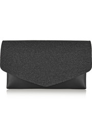 Leather and wool-blend felt clutch