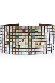 Maison Martin Margiela Embellished iridescent patent-leather waist belt