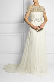 Marchesa Embellished tulle and lace gown