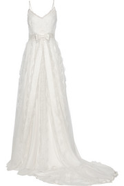 Marchesa Chantilly lace and satin gown