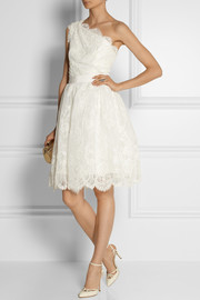 Marchesa One-shoulder embellished tulle dress