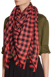Marc by Marc Jacobs Embroidered checked cotton-blend scarf