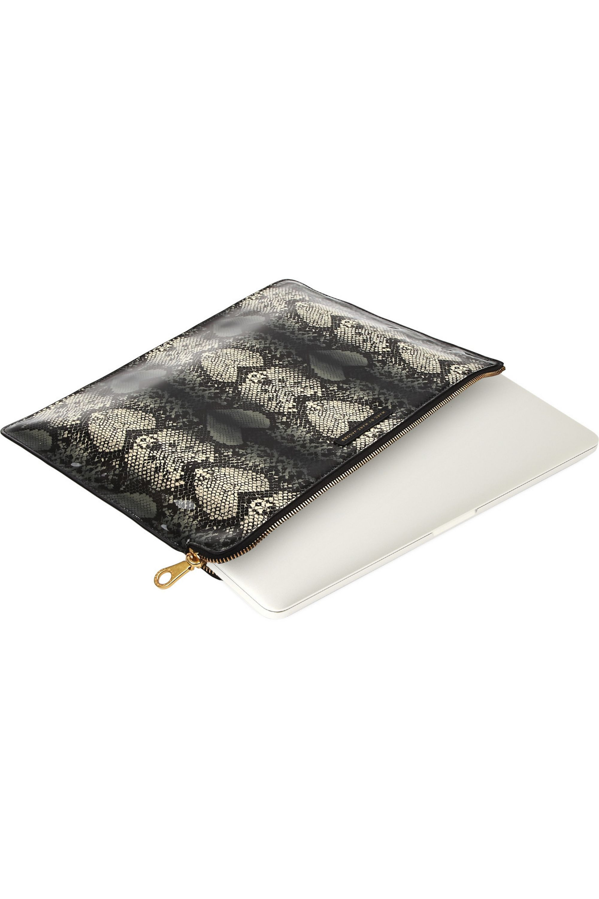 Marc by Marc Jacobs Snake Heart printed faux patent-leather laptop case