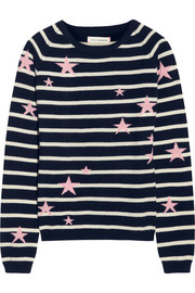 Chinti and Parker Star-intarsia striped cashmere sweater