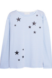 Chinti and Parker Star-print striped organic cotton top