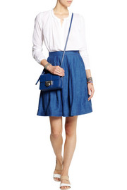 Chinti and Parker Linen-blend chambray mini skirt