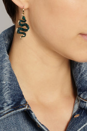 Marc by Marc Jacobs Gold-tone, acetate and cubic zirconia snake earrings