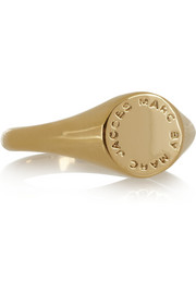 Embossed gold-tone signet ring