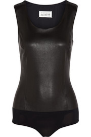 Maison Martin Margiela Nappa leather and stretch-jersey bodysuit