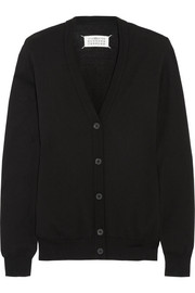 Maison Martin Margiela Leather-trimmed cotton and wool-blend cardigan