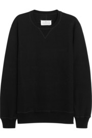 Maison Martin Margiela Cotton-terry and leather sweatshirt