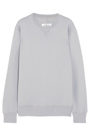 Maison Martin Margiela Leather-trimmed cotton sweatshirt